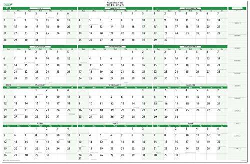Earth Green Academic Erasable Wall Calendars by PlanetSafe Calendars (2019-2020 Horizontal 38 x 58)
