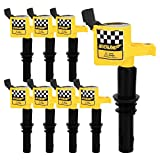 NEVERLAND 8 Pack DG511 C1541 FD508 Straight Boot Ignition Coils for Ford Lincoln Mercury V8 V10 4.6l 5.4l 6.8l Upgrade 15% More Energy F-150(Yellow)