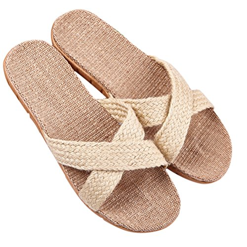 Outdoor Comfortable Couple HUPLUE Shoes Linen Beige Indoor Cozy Insole Unisex Slippers q8Ar8at