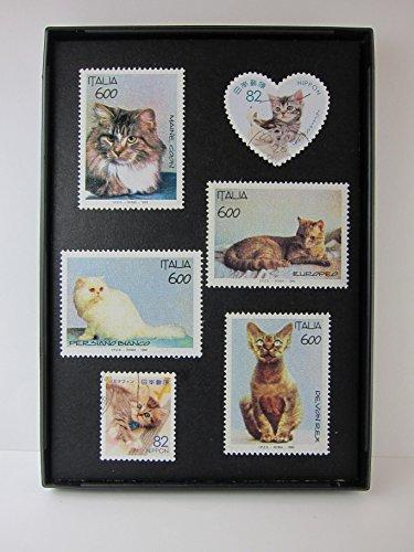 (Cat Framed Postage Stamp Art - 3.5 x 5