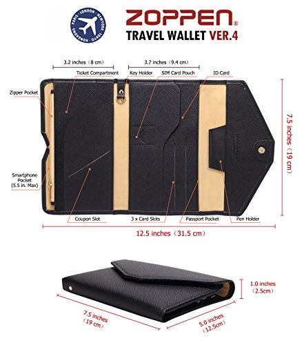513xh EyOOL - Zoppen Multi-purpose Rfid Blocking Travel Passport Wallet (Ver.4) Tri-fold Document Organizer Holder, 1 Black