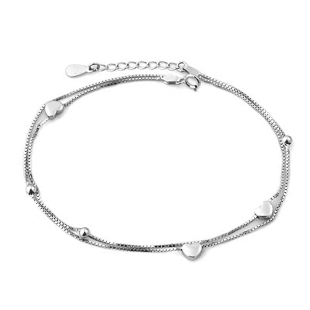 Jesse Ortega 925 Sterling Silver Double Chain Hearts Anklet Adjustable Ankle Bracelet