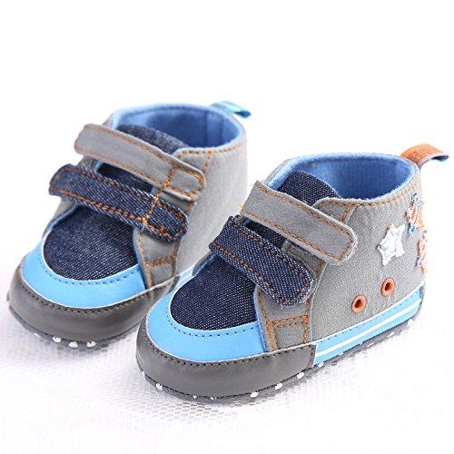 Auxma Baby nachgemachte Cowboyschuhe,Star Leinwand weiche Sohle Schuhe (11 3-6 M)