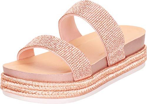 (Cambridge Select Women's Two-Strap Glitter Crystal Rhinestone Espadrille Slip-On Flatform Slide Sandal,7 B(M) US,Rose Gold )