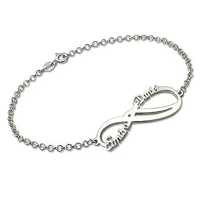 profiter de la livraison gratuite le moins cher bien Godmoy Bracelet Infini Nom Bracelet Personnalisé avec Prénom- 2 Noms | 925  Argent Sterling/Or / Or Rose