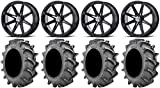 Bundle - 9 Items: MSA Black Diesel 18'' Wheels 33x8 BKT 171 (6ply) Tires [4x156 Bolt Pattern 12mmx1.25 Lug kit]