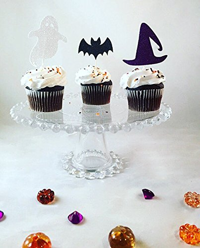 Patico Halloween Theme Glitter Cupcake Topper Cake Picks Decoration for Halloween Party Favors, Ghost Hat and Bats Food Picks - (Different Halloween Cupcakes)