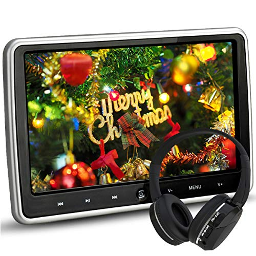 hin Portable Digital HD TFT LCD Headrest DVD Player Car Multimedia Wide Screen Display Player Headrest Monitor with HDMI and Remote Control and IR Headphone ()