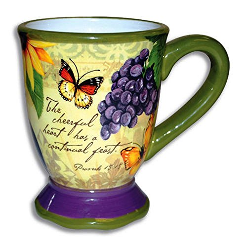 Darling Pedestal - Cheerful Heart Proverbs 15:15 Ceramic Stoneware 16 ounce Inspiration Coffee Mug