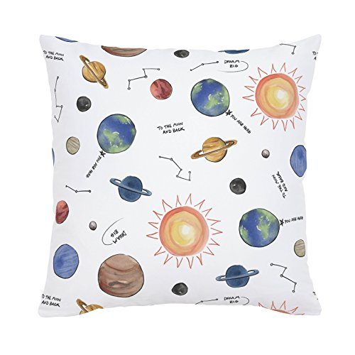 Carousel Designs Solar System Throw Pillow 20-Inch Square Size - Organic 100% Cotton Throw Pillow Cover + Insert - Made in the USA by Carousel Designs