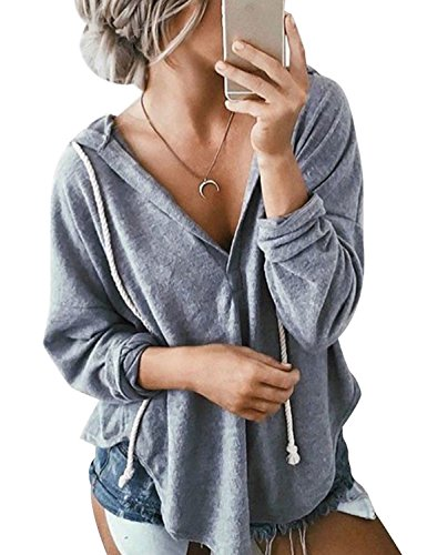 WLLW Womens Long Sleeve Deep V Neck Drawstring Sweatshirt Hoodies Tops Blouse, Grey, - Sweatshirt Cotton Long Sleeve
