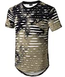Moomphya Mens Hip Hop Tie-Dyed Ripped Hole Stripe Hipster Curve Hem Short Sleeve T Shirt (Large, Army Green)