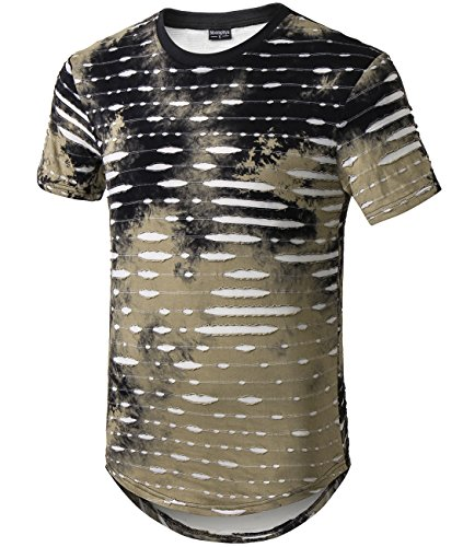 Moomphya Mens Hip Hop Tie-Dyed Ripped Hole Stripe Hipster Curve Hem Short Sleeve T Shirt (Large, Army Green) by Moomphya