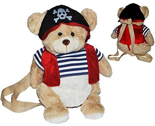 Rucksack Teddy als Pirat - Plüsch Kinderrucksack Plüschtier Tier Tiere Kinder Kindergartenrucksack Kindertasche