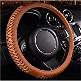 ECLEAR Car Steering Wheel Covers Universal Fit 38cm / 15 inch Breathable Anti-slip Leather Protector - Brown