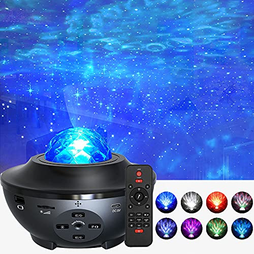 Foreita Music Night Light Projector - Night Light Projector with Remote Timer Music Speaker Different Lighting Show Adjustable Patterns Remote Control Light for Bedroom Living Room