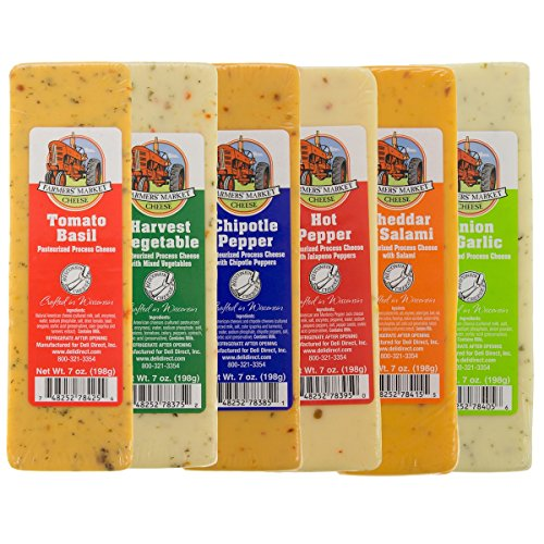 Bundle - Set of 6 Farmers Market Gourmet Wisconsin Cheese Bricks Gift Basket Fondue Food Blocks