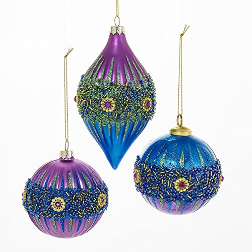 Kurt Adler 3 Assorted Glass Peacock Colors With Glitter Ball And Onion-shaped Finial Christmas Tree Ornaments
