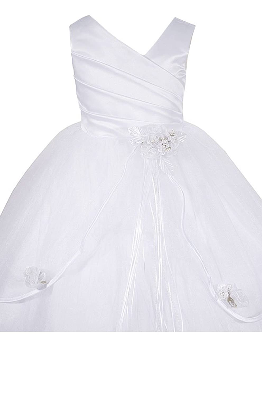 Amazon Amj Dresses Inc Big Girls White Communion Flower Girl