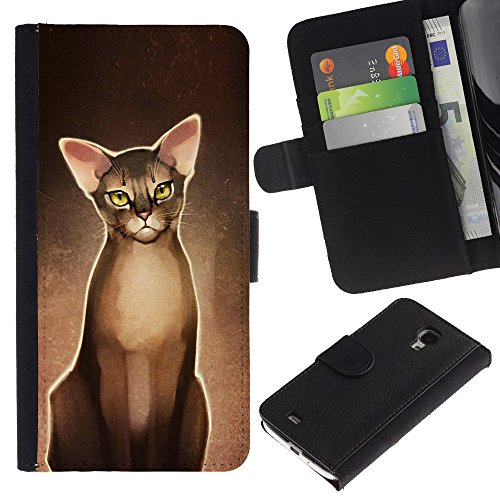 EuroCase - Samsung Galaxy S4 Mini i9190 MINI VERSION! - Devon rex donskoy sphynx drawing - Cuero PU Delgado caso cubierta Shell Armor Funda Case Cover