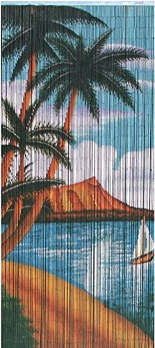 Bamboo Blue Tree (Bamboo Bead Curtain (blue water with green coconut trees))