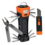SadoTech 16-in-1 Multi Tool Set Multipurpose Functional Flashlight Hammer Cutter Screwdriver Pliers Outdoor Repairs Survival Camping, Orange Multitool