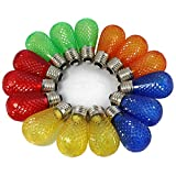 BRIMAX - S14 Colored LED Bulbs Plastic For Christmas Outdoor String Lights Replacement, Shatterproof, E26 Base Multi color Red/Orange/Blue/Green/Yellow, Cafe Ambience Decorative Bulb - 15pack