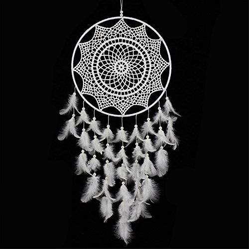Karleksliv Mysterious Dream Catchers 100/% Handmade dreamcatcher Home Ornament Circular Net For Car Kids Bed Room Sweet dream net black feather Golden beads brown circle D 4.33 inch//L 18.8 inch XM005
