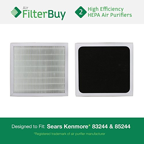 2 - 83159 Sears HEPA Filters - AFB HEPA. Fits Sears Kenmore air cleaner models 83244 and 85244. Designed by FilterBuy in the USA.