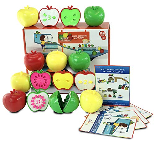 Skoolzy Toddler Games - Apple Factory Learning Toys for 3 Year olds to Ages 6 - STEM Color, Counting Educational Materials Montessori Toys for Toddlers - Gifts]()