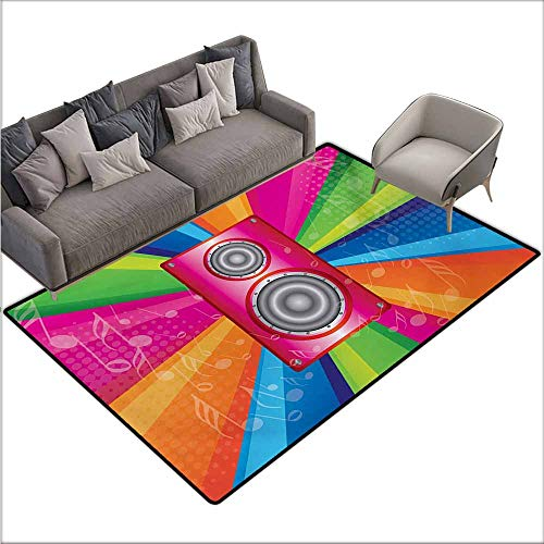 (Inner Door Rug Vintage Rainbow Discotheque Pop Party of The 60s 70s Theme Musical Notes and Pink Stereo with Anti-Slip Support W70 xL106 Multicolor)