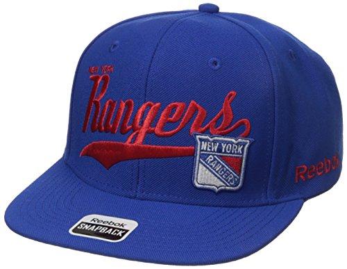 NHL New York Rangers Men's SP17 Tail Sweep Flat Brim Snapback Hat, Blue, One Size (New York Rangers Hat Reebok)