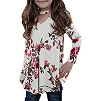 Bulawoo Girls Clothing Casual Short Sleeve Summer Tops Little Girls Knot Front Fashion Tee Shirts Size 4-13 4-5 Years Blue