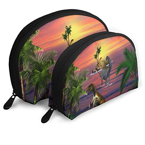 Makeup Bag Tropical Dinos Sunsets Animals Dinosaurs Portable Shell Makeup Case For Girls Halloween Gift 2 Pack ()