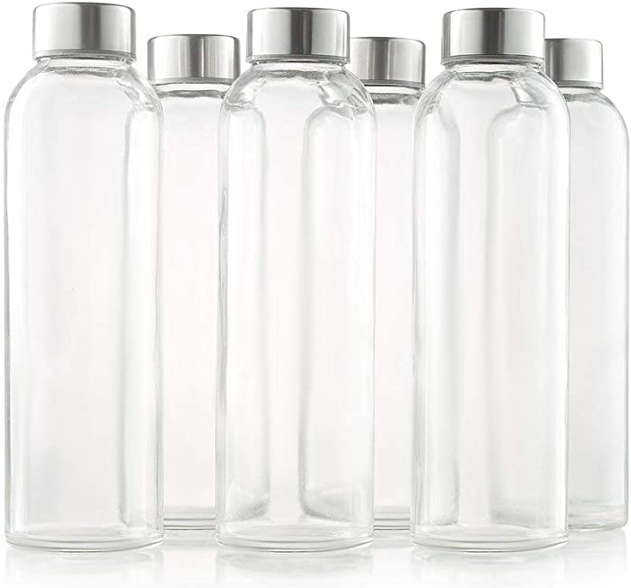 Sagler glass bottles 6 Pack 18oz - Includes 6 Sleeves (COLORS MAY VARY) - glass drinking bottles for Beverage and Juice - water bottle glass with stainless Steel Caps with - Leak-Proof Lid