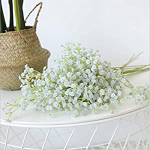 """Grapy 12pcs PU Artificial Flowers Fake Gypsophila Baby Breath Bouquets Real Touch Flowers for Home Wedding Party Decorations Floral Arrangement 23.6"""" 9"""