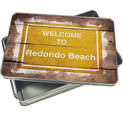 NEONBLOND Cookie Box Yellow Road Sign Welcome To Redondo Beach Christmas Metal Container