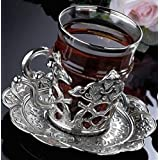 CopperBull 2018 Turkish Tea Glasses Set with Saucers Holders & Spoons (Silver)