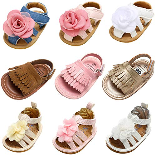 HsdsBebe Baby Boys Girls Flower Dress Tassels Sandals Pu Leather Rubber Sole Toddler Fisrt Walkers Infant Princess Summer White Shoes (3-6 Months, D-Dark Brown)