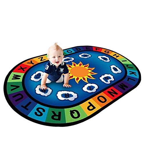 Small Rugs Oval (USTIDE Vibrant Alphabet Educational Playroom Rug on Blue 5'x7' Oval Theme Rug for Kids Children)