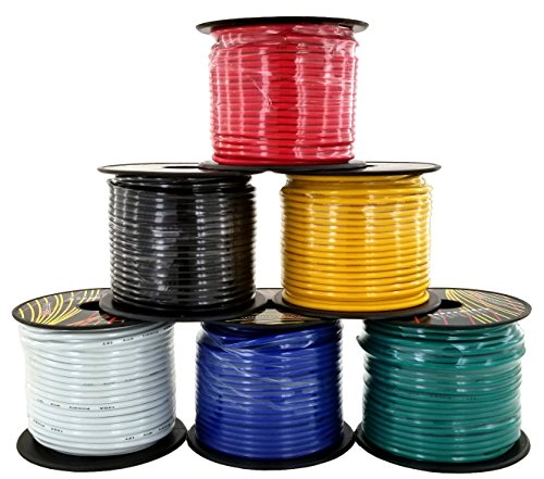 14 Gauge Stranded Wire - 14 Gauge Stranded Copper Clad Aluminum Low Voltage Primary Wire | 6 Color Combo at 100ft/Color (600 ft Total) | Also Available in: Red & Black (200 ft) or 7-Color (700 ft) Trailer Set