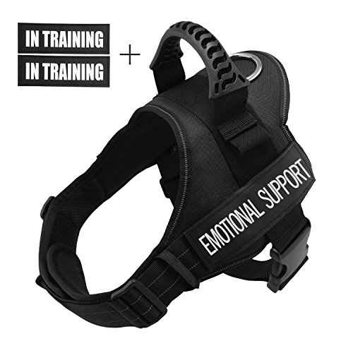 Fairwin Emotional Support Service Vest Dog Harness - Adjustable Nylon with Removable Reflective Patches for Emotional Support Dogs Large Medium Small Sizes (L: Chest 28-37''; Neck 23-29'', ()