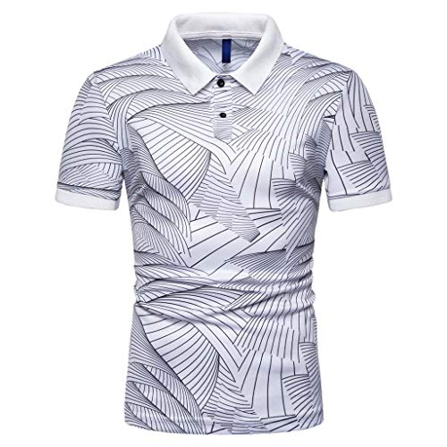 YAYUMI Men's Jersey Cotton Short Sleeve Polo Shirts Male Solid Breathable Tops White