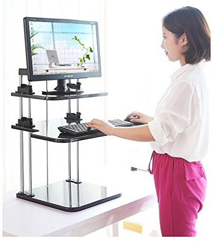 Best to Buy Portable Height- Adjustable -Desk Sit / Stand Elevating Desktop--5 seconds to change sit or stand (White) by Best to Buy
