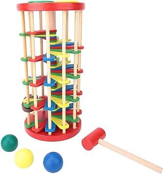 Tnfeeon Clásico Juego de Mesa, Juguete de Torre de Madera Libra y Rueda con Martillo Colorido Jugar escaleras Juego de Ocio: Amazon.es: Juguetes y juegos