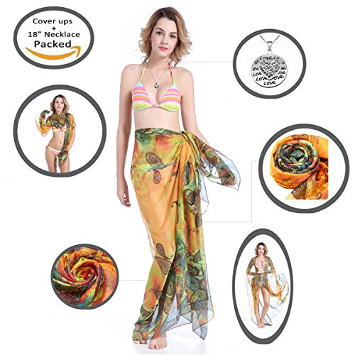 Summer Bali Beach Cover up swimsuit coverups Bikini Plus Size Bathing Suits Scarf With Heart Necklace 18