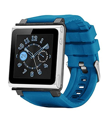 PiGGyB Classy Watch Band Case Cover Necklace Set For Apple iPod Nano 6 6th Generation (Blue Light)