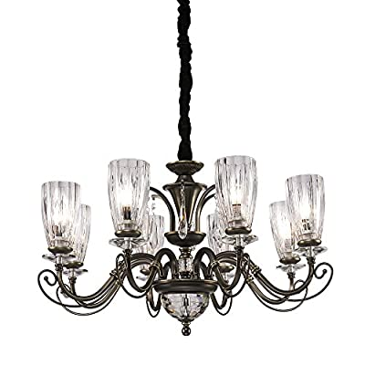 QIRUI Luxury Retro Iron Chandelier Fixture With E12 Lamp Sockets,Ceiling Lighting Holder With Transformer and Lampshade,Decoration for Home Hotel Hall Restaurant 8672