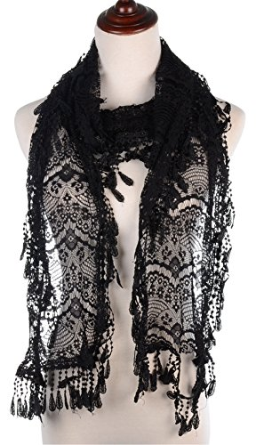 Ensemble Crochet Pattern - BYOS Womens Delicate Victoria Vintage Inspired Fan Pattern Lace Scarf (Black)