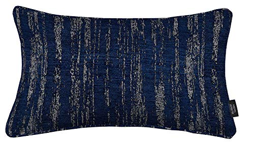 McAlister Textiles Textured Chenille | Plump Filled Throw Pillow in Navy Blue | Lumbar 12x20 Inches | Decor Toss Cushion | Metallic Linen Modern Rustic Accent for Couch & Bed